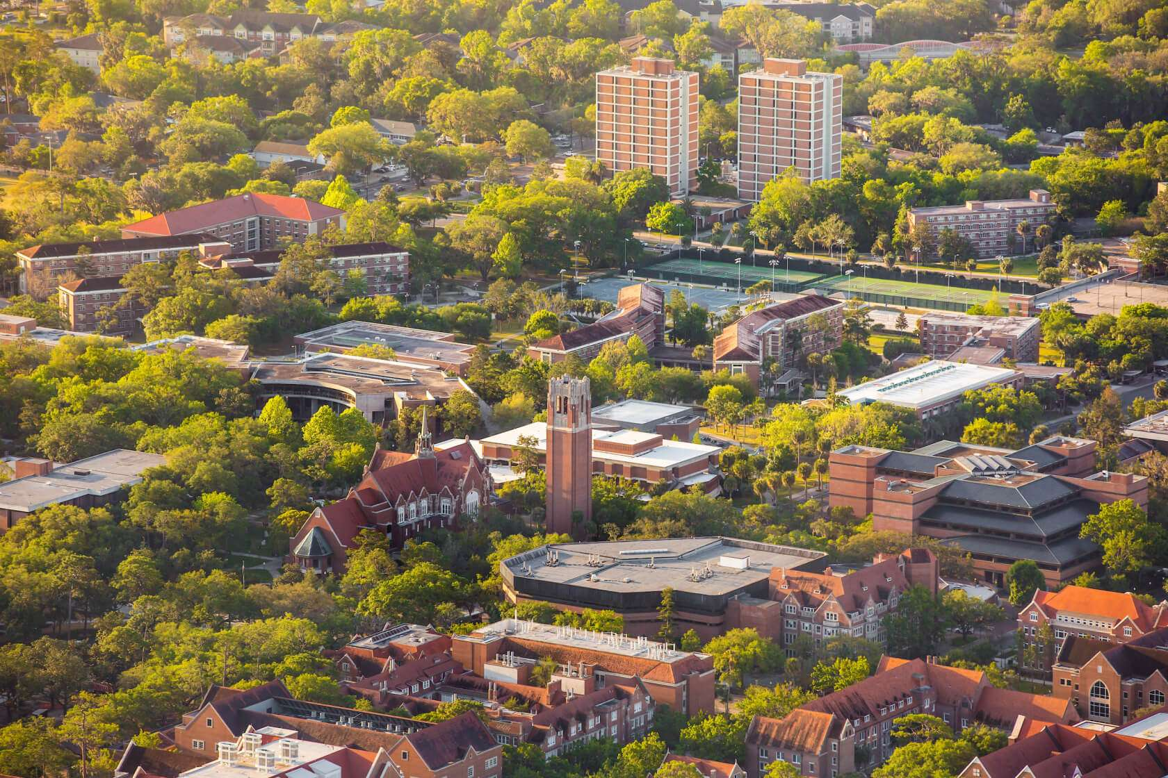 Aerial view of the UF campus