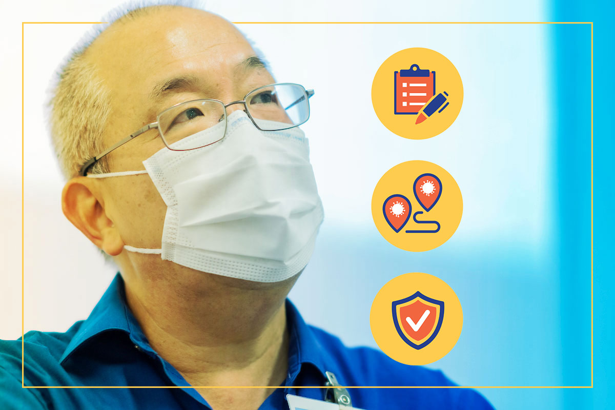Dr. Lampotang in a face mask staring at icons