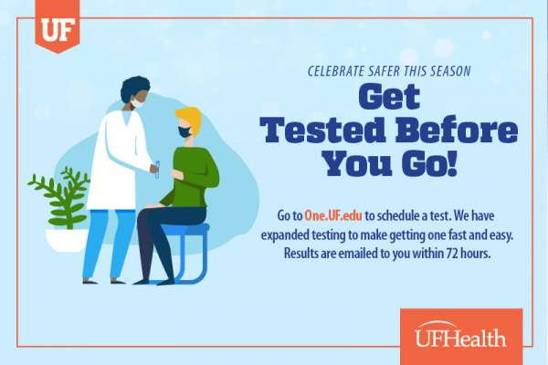 Graphic that says Get Tested Before You Go