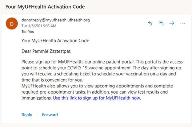 2nd MyUFHealth email example