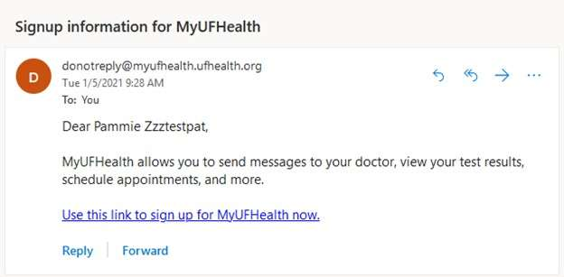 MyUFHealth Email Example 3